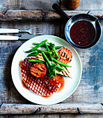 Ham with beans, grilled tomatoes and Cumberland sauce