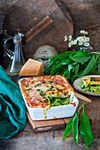 Wild garlic lasagne