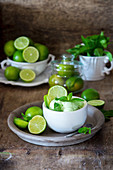 Mint and lime ice cream