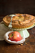 Apple pie on a cake stand