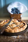 Freshly baked blueberry pie