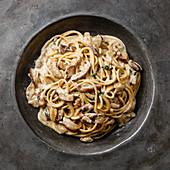 Pasta Spaghetti with Porcini mushrooms on plate close-up