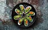 Mussels Clams Kiwi with parmesan cheese and parsley in cooking pan on metal background