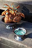 Crab tempura with a dip