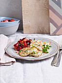 Chicken escalope with plums and beetroot