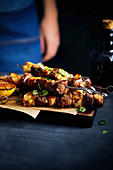 Lamb and haloumi skewers with herbed honey butter