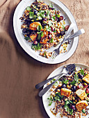 Grain salad with haloumi