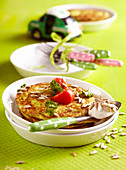 Courgette pancakes with sunflower seeds