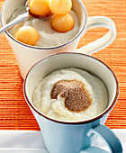 Semolina pudding with cinnamon sugar and melon balls