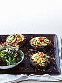 White bean stuffed mushrooms with cheesy zucchini topping