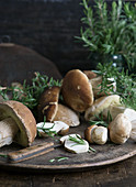 Fresh porcini mushrooms on a wooden plate
