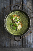 Courgette and potato soup with lovage and grilled bread
