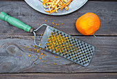 Grating orange zests