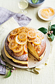 Yoghurt cake with lemon cream and candied lemons