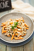 Penne with ground sausage and herbs