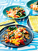 Rainbow chard with garlic, chickpeas and almonds