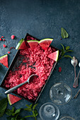 Watermelon granita with fresh watermelon and mint, view from above