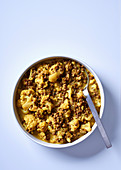 Cauliflower and lentil curry with coconut milk