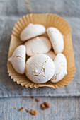 Meringue biscuits in a paper case