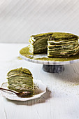 Matcha mille crepe cake with custard-creme filling