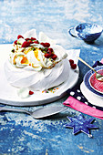 Raspberry and saffron pavlova