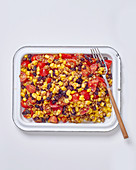 Lentil, black bean and corn salsa salad