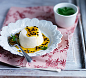 Panna cotta with passion fruit sauce and mint tea