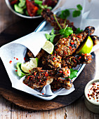 Grilled chicken legs with chili, lime and coriander leaves (Caribbean)