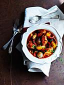 Baskisches Hähnchen mit Paprika und Zwiebeln