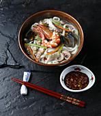 Seafood kalguksu (Korean noodle soup)