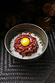 Korean minced raw beef with rice