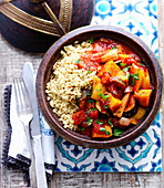 Harissa vegetables with couscous (Arabia)