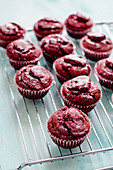 Red Velvet Cupcakes auf Kuchengitter