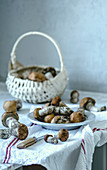 Fresh mushrooms in a basket and on a plate