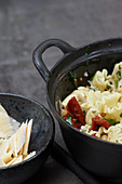 Tagliatelle with artichokes and tomatoes