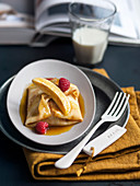 Caramelized Crepes with Bananas and Raspberries