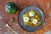 Courgette fritters with goat's cheese