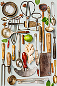 Collection of old vintage cutlery on grey background