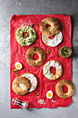 Variety of homemade bagels with sesame seeds, cream cheese, pesto sauce, eggs, radish, herbs served on red crumpled paper