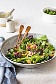 Green leaf, onion and pepper salad