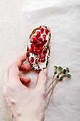 Hand hält Bruschetta belegt mit Frischkäse und Granatapfelkernen