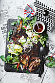 Slow cooked lamb shoulder with zucchini and feta salad