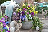 Frühlings - Schale mit Primeln, Hyazinthen und Mimose
