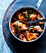 Seafood stew with fish and peppers