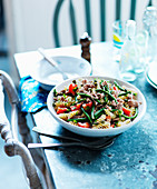 Pasta salad with tuna, peppers and green beans