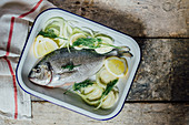 Whole bream with fennel and lemon