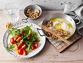 Baked camembert with walnuts and a rocket and tomato salad (low carb)