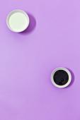 Wasabi yoghurt dip and an oriental sesame seed dressing