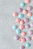 Colorful meringue kisses, seen from above