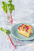Slice of a rhubarb cake